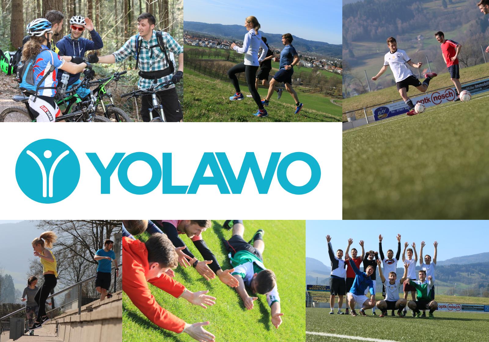 Collage aus Bildern mit Yolawo-Sportaktivitäten und dem Yolawo-Logo
