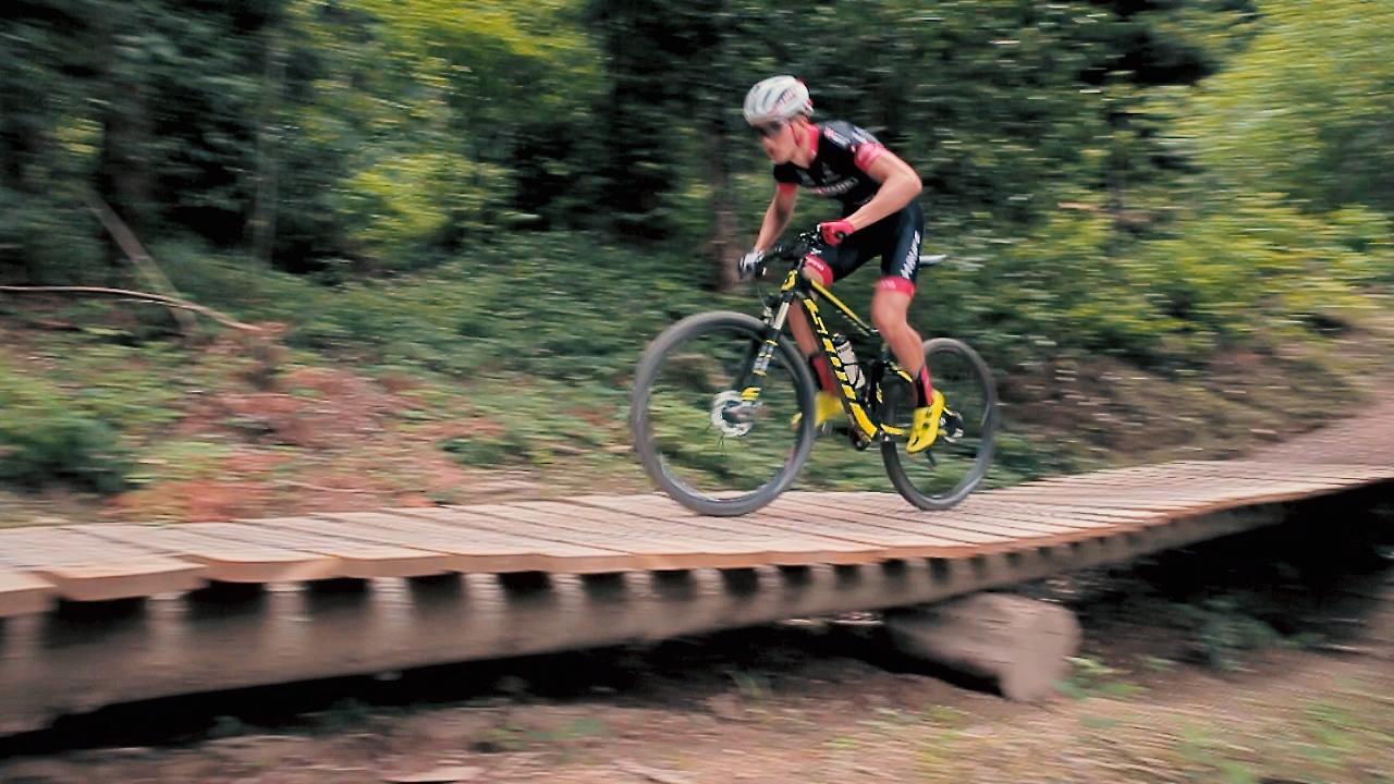 Ein Mountainbiker fährt über einen North Shore