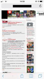 Beispiel einer Homepage eines Vereins, die nicht mobile-responsive ist