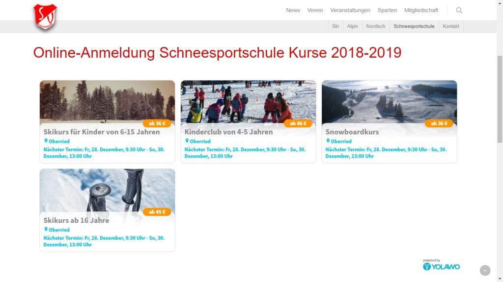Beispiel SV Kirchzarten Homepage