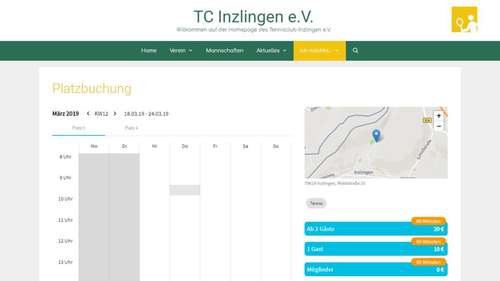 Yolawo Platzbuchungssystem: integriert auf der TC Inzlingen Website