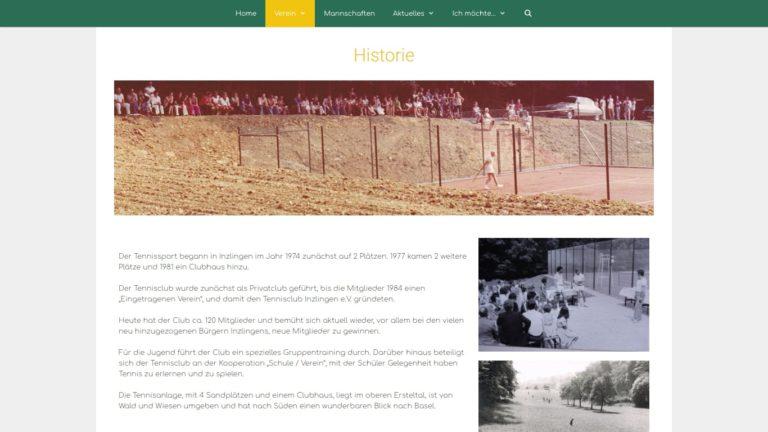 Screenshot TC Inzlingen Webseite - Historie