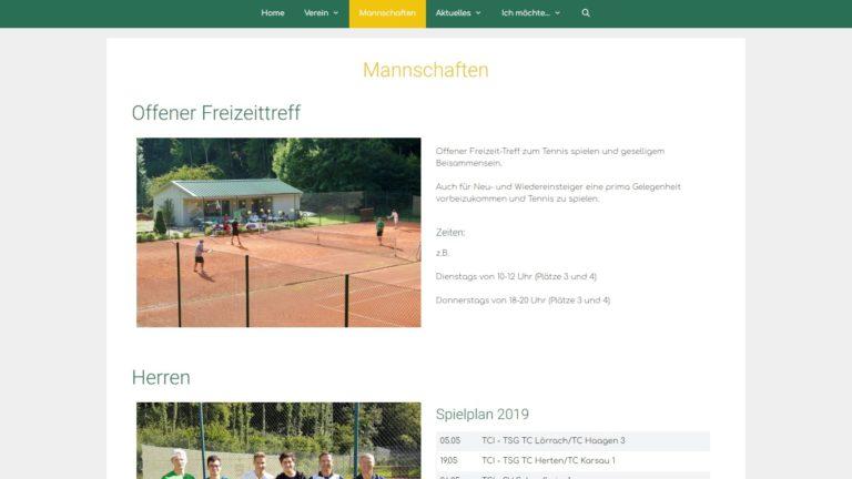 Screenshot TC Inzlingen Webseite - Mannschaften