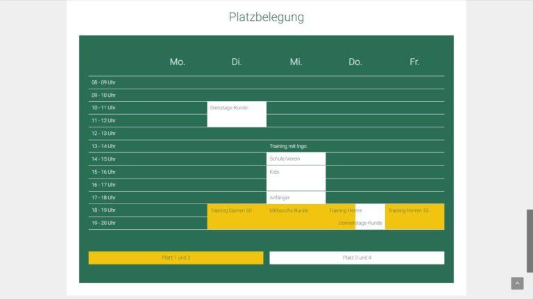 Screenshot TC Inzlingen Webseite - Platzbelegung