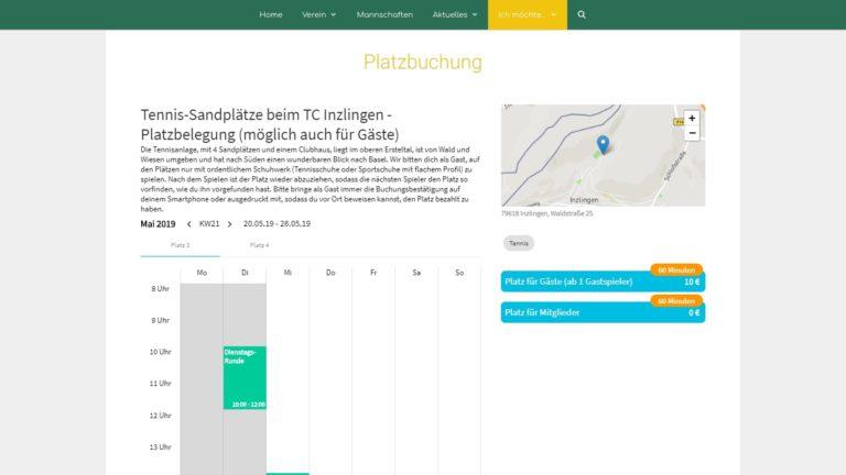 Screenshot TC Inzlingen Webseite - Platzbuchung