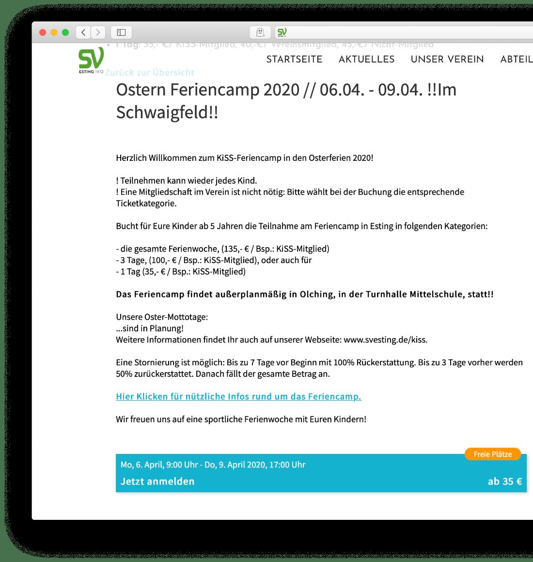SVE – Anmeldebutton
