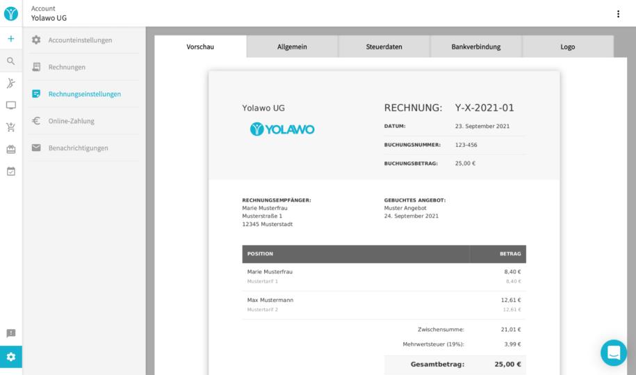 Rechnungseinstellung im Yolawo System